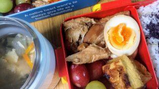 圧力IH鍋で手間なしでつくれる「手羽元と茹で卵の煮物」弁当。